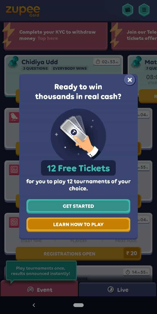 free tickets at zupee gold app